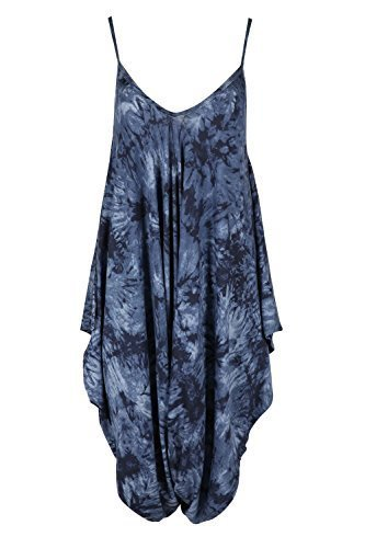 Black Khaki Navy Stone (Womens Ladies Cami Strappy Sleeveless Harem Baggy Lagenlook Jumpsuit Playsuit)
