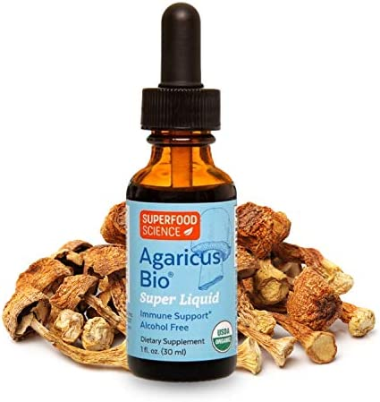 Superfood Science Agaricus Bio Super Liquid, Agaricus Blazei Immune System Booster Mushroom Supplement, Organic Agaricus Blazei Mushroom Extract Tincture for Immune Support, Non GMO, 1 Fl Oz.
