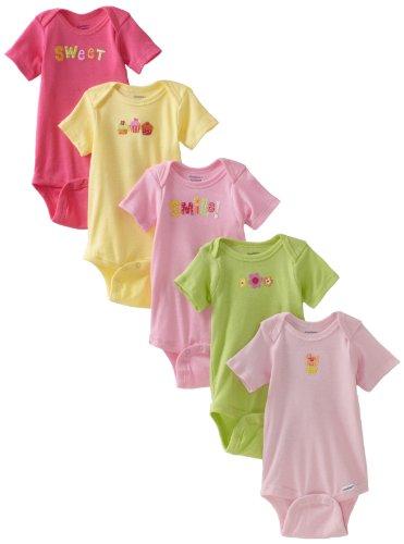 Gerber Baby-Girls Newborn 5 Pack Solid Onesies Brand