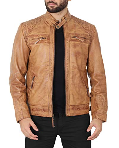 Brown Leather Jacket Men - Genuine Lambskin Leather Jacket for Men | Johnson, XXL