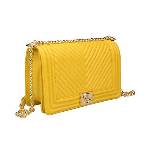 Leather Hardware Women's Bag Strap Yellow gold Quilted Crossbody Hobo Chain Ainifeel Handbags Genuine 7E8dFwq