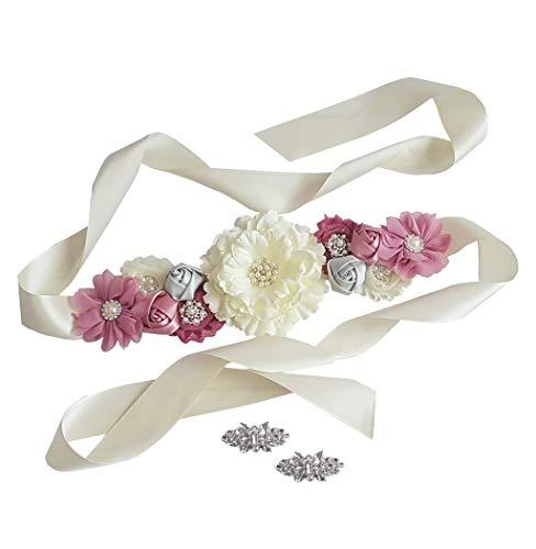 Baby Shower Maternity Wedding Bridal Sash Belt Floral Satin Sash with Shabby Chiffon Flowers and Rhinestones (Mauve Set of 2)