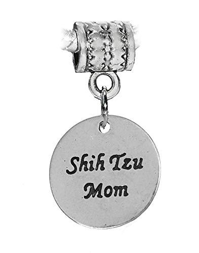Shih Tzu Mom Dog Breed Owner Word Dangle Charm for European Bead Slide Bracelets Crafting Key Chain Bracelet Necklace Jewelry Accessories Pendants