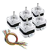 ECO-WORTHY 5pcs 12V High Torque Nema 17 Stepper Motors w/ Cables & Connectors for 3D Printer/CNC