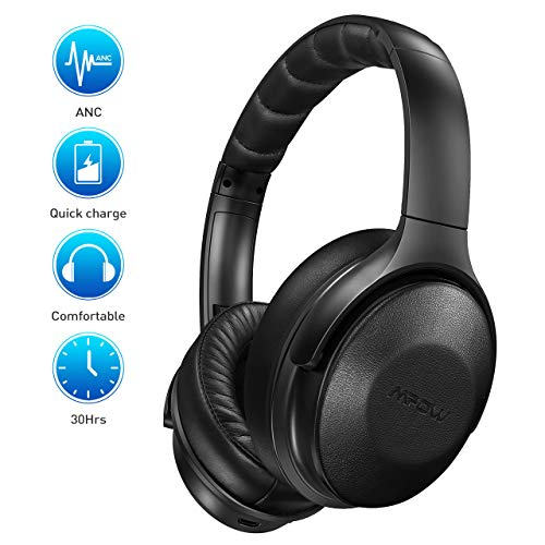 Mpow H17 Active Noise Cancelling Headphones, [Up to 30Hrs] Bluetooth Headphones Over Ear, Rapid Charge, Hi-Fi Stereo Sound, Soft Protein Ear Pads, Foldable Wireless Headset for Travel Work TV PC Cellphone