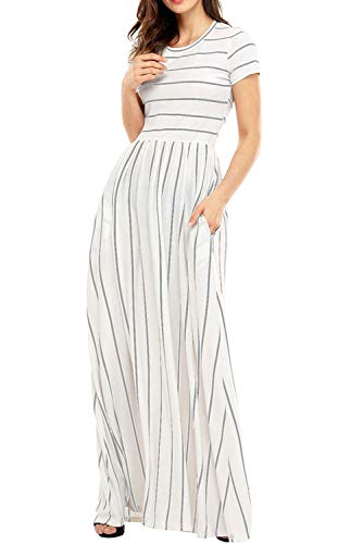 Uniarmoire Women's Summer Short Sleeve Striped Long Dress with Pocket Maxi Dress Grey XL -