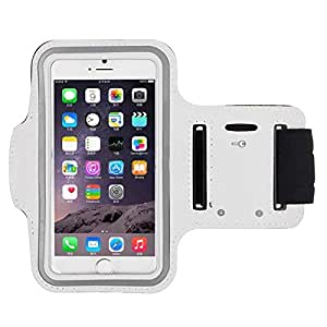 Leather Sport Running Armband Mobile Phone Case Cover For iPhone 6 Plus 5.5 Inch White