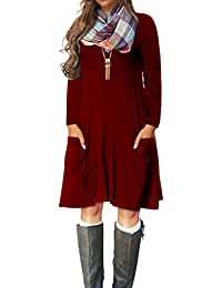 Women's Casual Long Sleeve Loose Pocket Dress