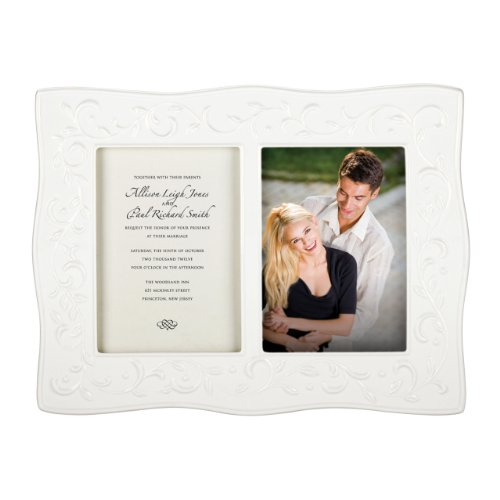 Lenox Opal Innocence Carved Double Invitation Frame, 5 by (Opal Invitations)