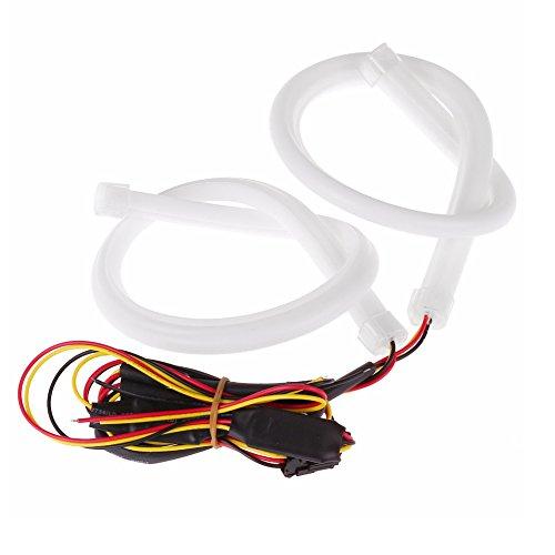 ELOGOOG 2X 60CM Flexible Tube Guide Car LED Strip Turn Signal Tail Brake License Plate Light DRL Amber Turn Signal Light