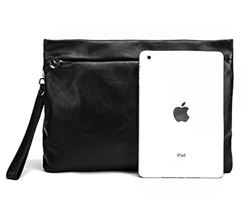 Pabin Calfskin Soft Leather Mens Clutch Handbags Satchel Tote Travel Bag For Ipad Cover And Cases