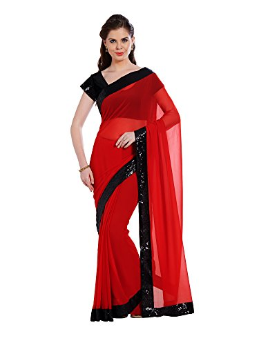 r Women's Red Color Georgette Saree,Red,Free Size ()