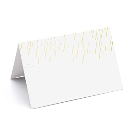 AZAZA 50 Pcs Place Cards With Gold Foil Table Tent
