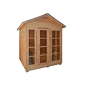 ALEKO CED6VAASA 6 Person Canadian Red Cedar Outdoor and Indoor Wet Dry Sauna Steam Room with 6 KW ETL Electrical Heater