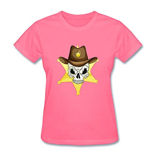 Jocersen Womens Star Sheriff Skull Fashion Short Sleeve T Shirt L
