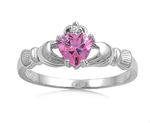 Oxford Diamond Co Irish Claddagh Pink Cz Ring Size 7