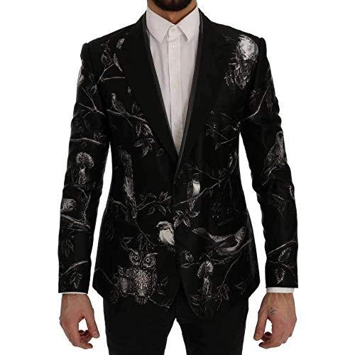 Dolce & Gabbana - Black Bird Print Silk Slim Blazer -