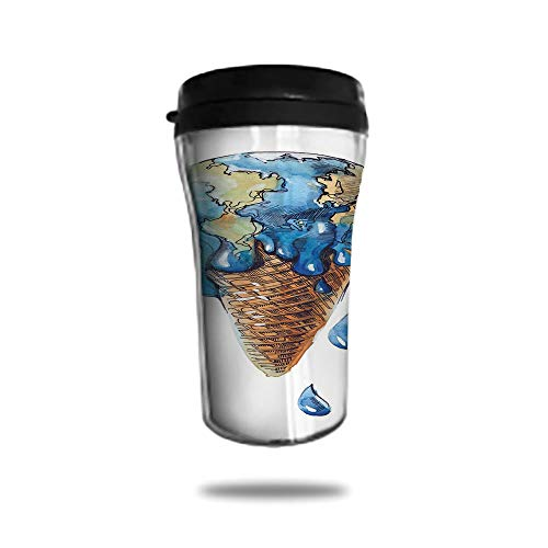 Stainless Steel Insulated Coffee Travel Mug,Spill Proof Flip Lid Insulated Coffee cup Keeps Hot or Cold 8.45 OZ(250 ml)Customizable printing byIce Cream Decor,Ice Cream with Globe Planet Earth ()