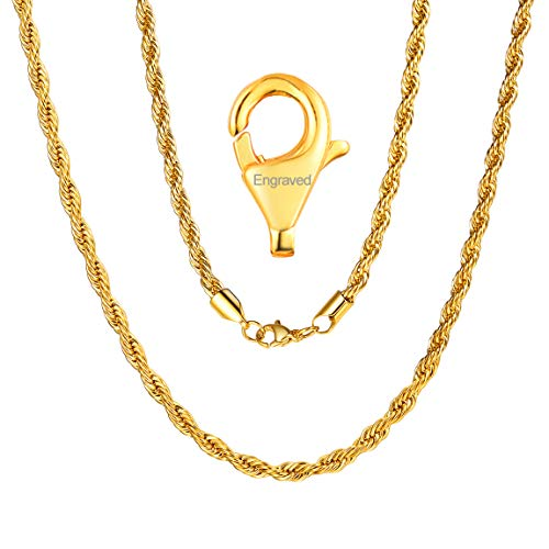 Rope Chain Daily Wear Jewelry 18K Gold Filled Stainless Steel Lobster Claw Clasp French Style 28 inch Gifts Birthday ()
