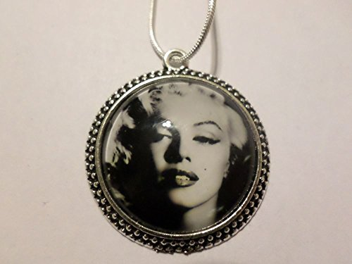 Metal Marilyn Monroe Norma Jeane Mortenson Baker Collectible Glass Dome Pendant with 24 Inch Silver Plated Metal Snake Chain Necklace