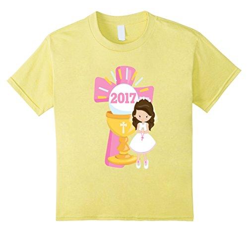 Kids First Communion Shirt Gift Pink Cross 2017 Girl Brow...