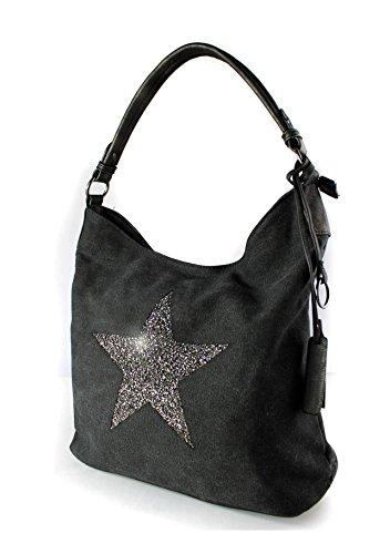 Shoulder Embellished Sparking Canvas Shopper Bag Star cm Size Black Large Rhinestone Tote 35x30x14 USqZ4T