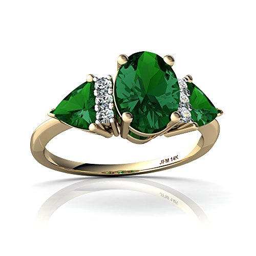 14kt Yellow Gold Lab Emerald and Diamond 7x5mm Oval Antique Style Three Stone Ring - Size ()