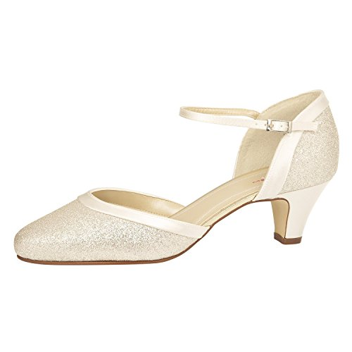 Elsa Color Ester - Zapatos de Vestir de Satén Para Mujer Blanco Blanco Marfil 39.5