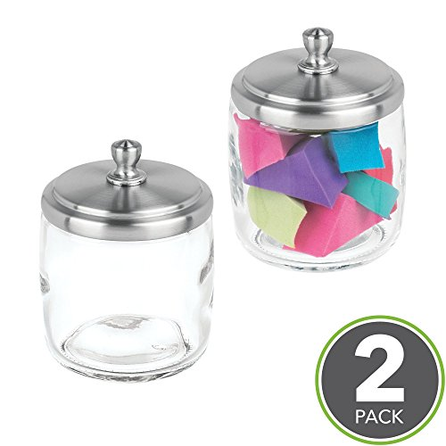 mDesign Bathroom Vanity Glass Storage Organizer Canister Jars for Q tips, Cotton Swabs, Cotton Rounds, Cotton Balls, Makeup Sponges, Bath Salts - Pack of 2, Short, Clear/Brushed (Glass Counter Vanity)