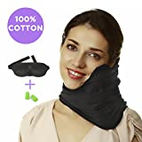 Travel Pillow Set : 100% Cotton Travel Neck Pillow with Memory Foam Support, Sleep Mask, Earplugs - Airplane Pillows - Flight Pillow Wrap for Sleeping Travel Accessories - Travel Essentials Black