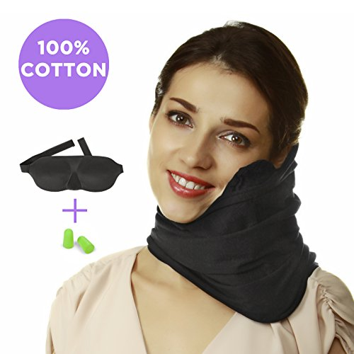 Travel Pillow Set : 100% Cotton Travel Neck Pillow with Memory Foam Support, Sleep Mask, Earplugs - Airplane Pillows - Flight Pillow Wrap for Sleeping Travel Accessories - Travel Essentials Black by Prokitline (Image #9)