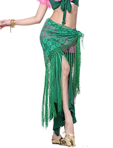 Tango Dancer Costume (Belly Dance Belt Triangle Belt Costume Belly Dance Hip Scarf Skirt Lace Tassels Wrap)