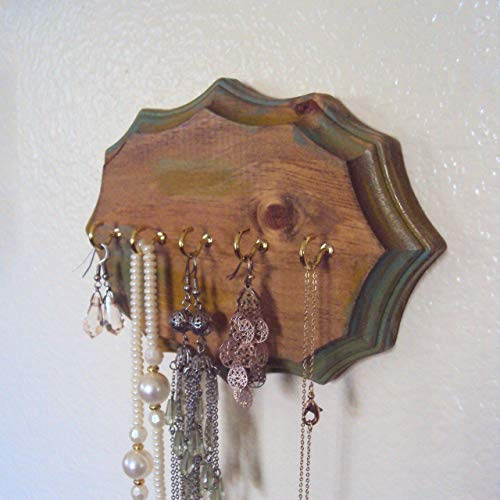 Bohemian Jewelry Display - Rustic Necklace Holder - Decorative Boho Jewelry Organizer - Gold Green Wood Earring Hanger - Gypsy Wall Decor - Small Wall Hanger (5 x 7 - Elizabethan Classics Ring