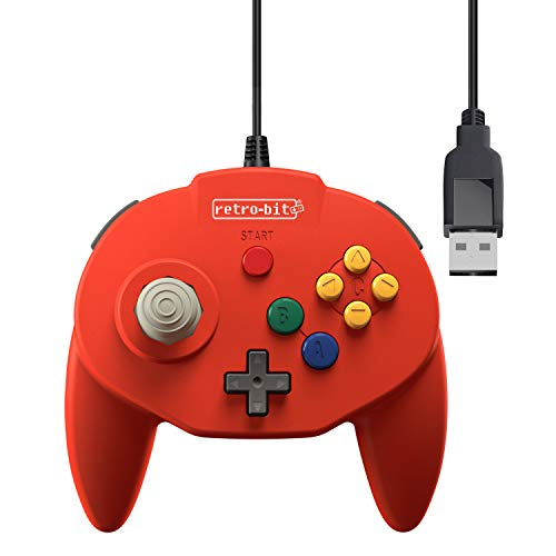 Retro-Bit Tribute 64 USB Controller for PC, Nintendo Switch, Mac, Steam, RetroPie, Raspberry Pi - USB Port - (Red) (Best Nintendo 64 Emulator For Pc)
