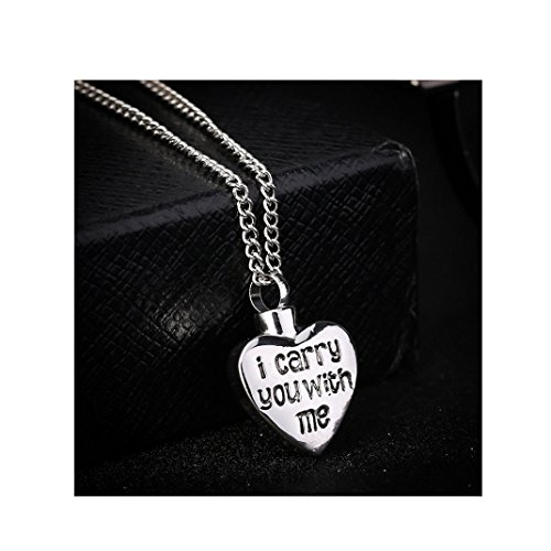 """you with me""""Love Heart Shaped Cinerary Casket Pendant Necklace Sculpture Heart Shaped Stainless Steel Cremation Urn Pendant (Silver) ()"""