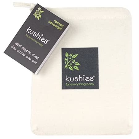 Kushies Baby Organic Jersey Play Pen Fitted Sheet White