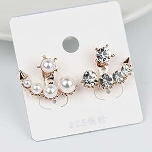The new Western style beauty born Sarah Han Ye Seul same style silver needle diamond earrings wild classic pearl earrings