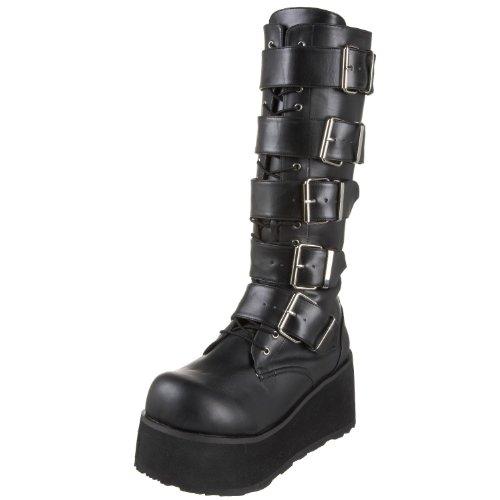 Demonia Genom Pleaser Mens Trashville-518 Goth Boot Svart Pu
