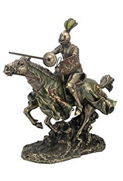 Jousting Armored Knight with Lion Emblem Shield Statue Sc...