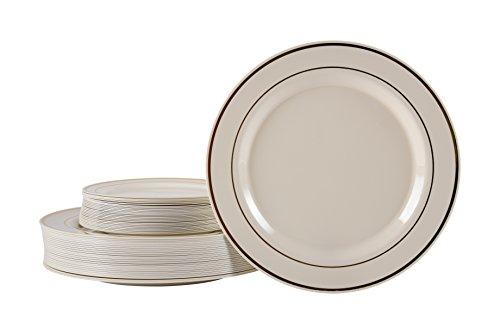 Gold Rimmed Ivory Hard Plastic Plate Set 25 x 9'' & 25 x 6