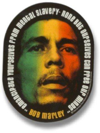 Bob Marley - Emancipate Yourself From Mental Slavery Oval Sticker / Decal with Tri-Color - Decal Oval Jamaica