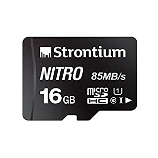 Strontium Nitro 16GB Micro SDHC Memory Card 85MB/s UHS-I U1 Class 10 w/ Adapter High Speed For Smartphones Tablets Drones Action Cams (SRN16GTFU1QA)