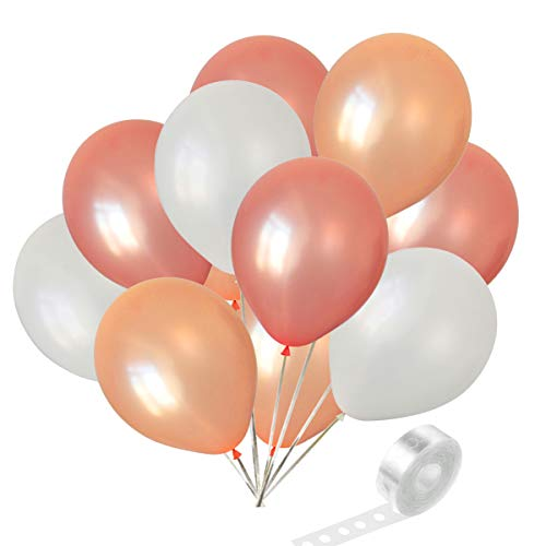 Party Balloons 50 Pieces 12 Inch white and rose gold and champagne gold ()