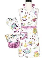 Handstand Kitchen Child's 'Spring Tea Party' 100% Cotton Apron, Mitt and Chef's Hat Gift Set