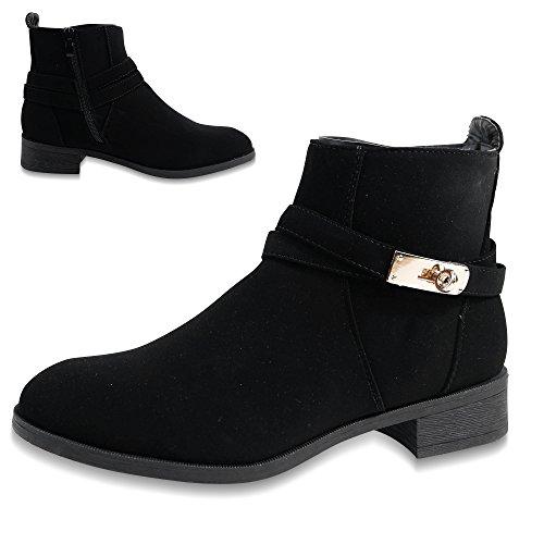 Damen Stiefeletten Chelsea Boots Ankle Stiefel Biker ST897