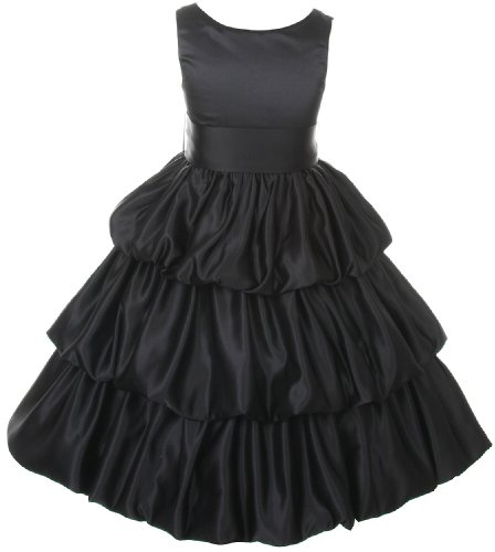 Tiered Satin Dress Black - 1