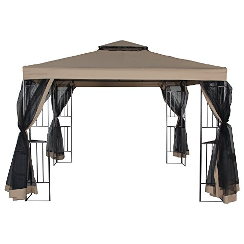 FurniTure Outdoor Gazebo 10' x 10' Gazebo Vented Garden Party Gazebo with Mosquito Netting Double Roof Polyester Fabric Garden Metal Gazebo with Netting Canopy Tent, Sand