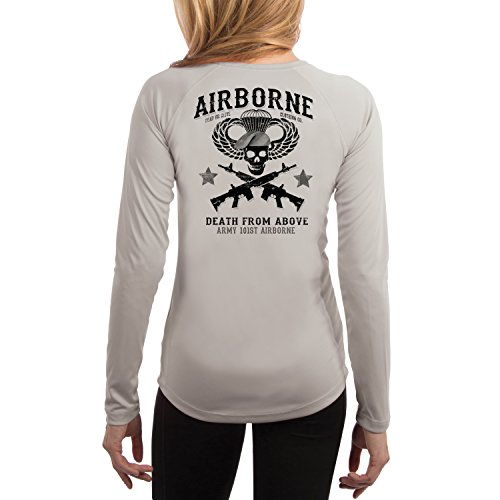 Dead Or Alive Clothing Women's Army 101ST Airborne UPF 50+ Long Sleeve T-Shirt Large Pearl Grey
