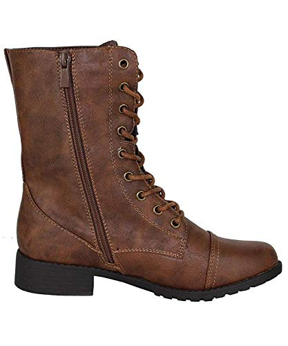 Forever Link Womens Mango Round Toe Military Lace up Knit Ankle Cuff Low Heel Combat Boots Brown 7 B(M) US