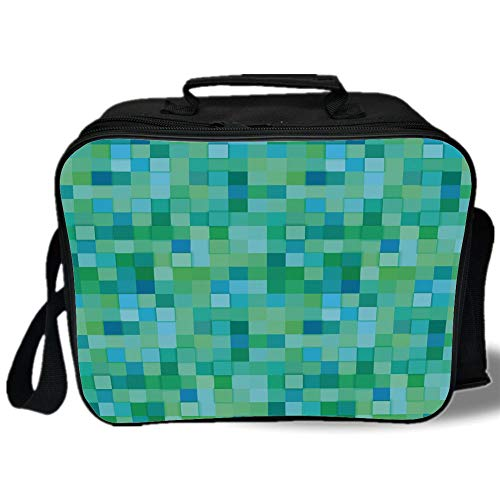 Teal 3D Print Insulated Lunch Bag,3D Cube Pattern Abstract Squares Vibrant Colored Geometric Shapes Design Modern,for Work/School/Picnic,Sea Green Blue